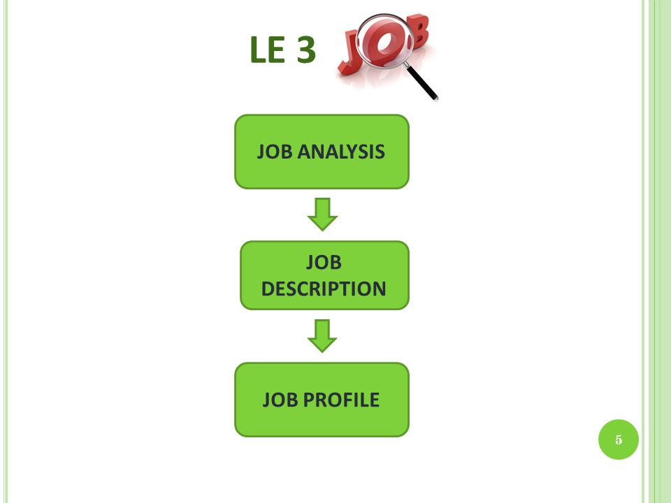 LE 3 5 JOB ANALYSIS JOB DESCRIPTION JOB PROFILE