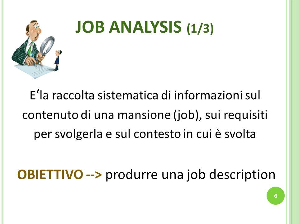 JOB ANALYSIS (2/3) 7 E' l'unità base della struttura organizzativa ed è costituita dall'insieme dei compiti e delle responsabilità assegnati ad un singolo individuo E' l'insieme di posizioni simili fra loro, costituite cioè, da compiti della medesima natura POSIZIONEMANSIONE