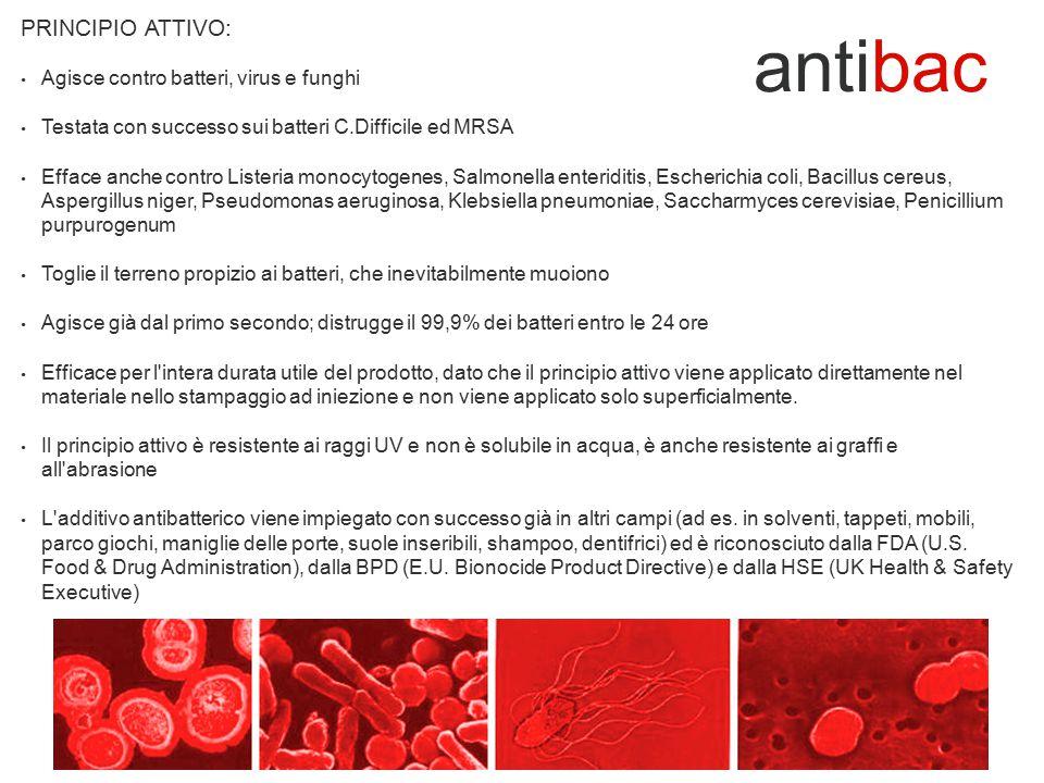 Azione testata dalla FDAS (Food & Drug Analytical Service Ltd.) e certificata secondo BS EN 20645 (metodo di prova per determinare l effetto dei trattamenti antibatterici) Testata con esito positivo secondo EN 71/3 ed EN 71/9 (sicurezza dei giocattoli) CERTIFICAZIONE: antibac