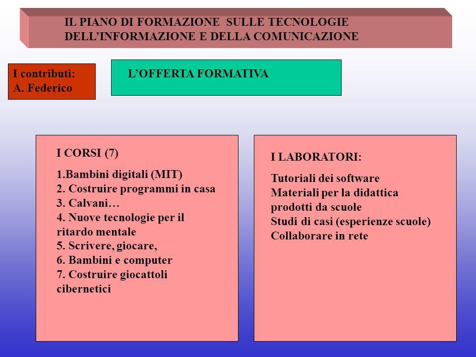 IL PIANO DI FORMAZIONE SULLE TECNOLOGIE DELL'INFORMAZIONE E DELLA COMUNICAZIONE L'OFFERTA FORMATIVAI contributi: A. Federico I CORSI (7) 1.Bambini dig