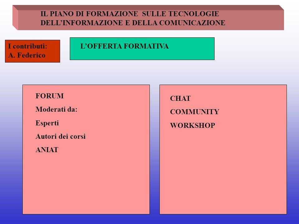IL PIANO DI FORMAZIONE SULLE TECNOLOGIE DELL'INFORMAZIONE E DELLA COMUNICAZIONE L'OFFERTA FORMATIVAI contributi: A. Federico FORUM Moderati da: Espert