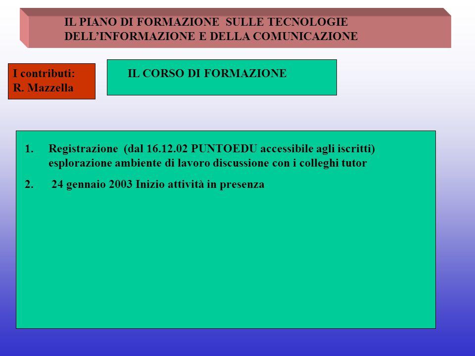 IL PIANO DI FORMAZIONE SULLE TECNOLOGIE DELL'INFORMAZIONE E DELLA COMUNICAZIONE IL CORSO DI FORMAZIONEI contributi: R. Mazzella 1.Registrazione (dal 1