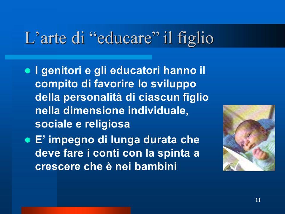 """11 L'arte di """"educare"""" il figlio I genitori e gli educatori hanno il compito di favorire lo sviluppo della personalità di ciascun figlio nella dimensi"""