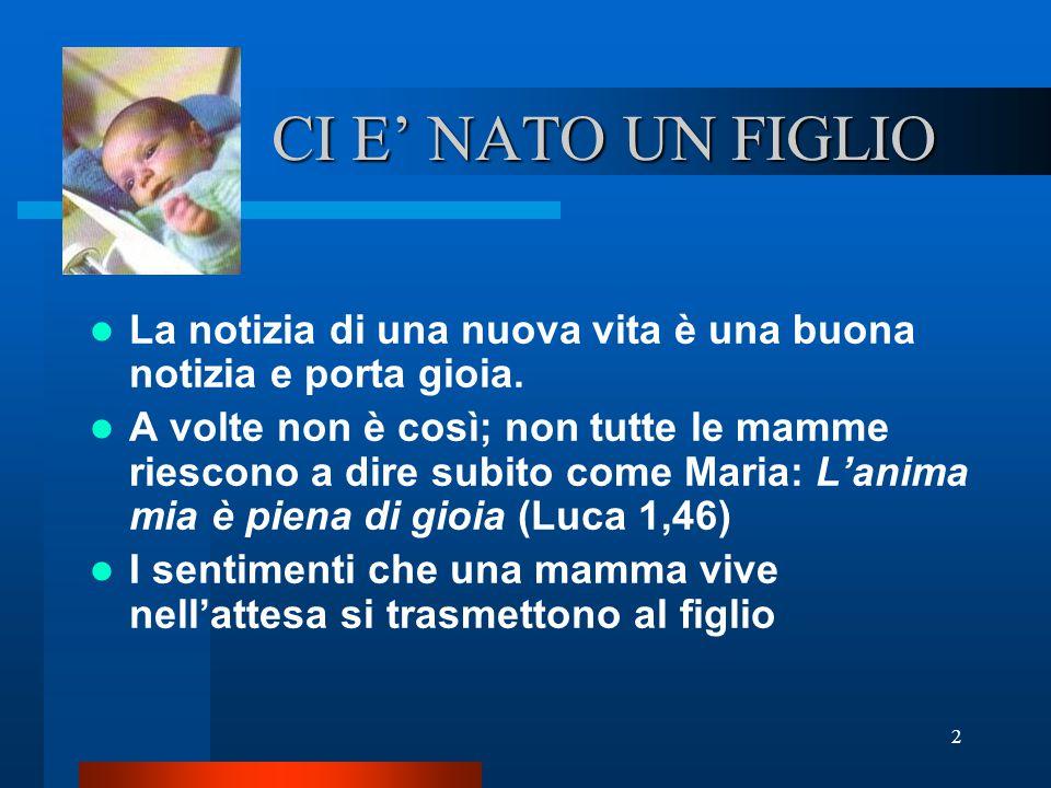 2 CI E' NATO UN FIGLIO La notizia di una nuova vita è una buona notizia e porta gioia. A volte non è così; non tutte le mamme riescono a dire subito c