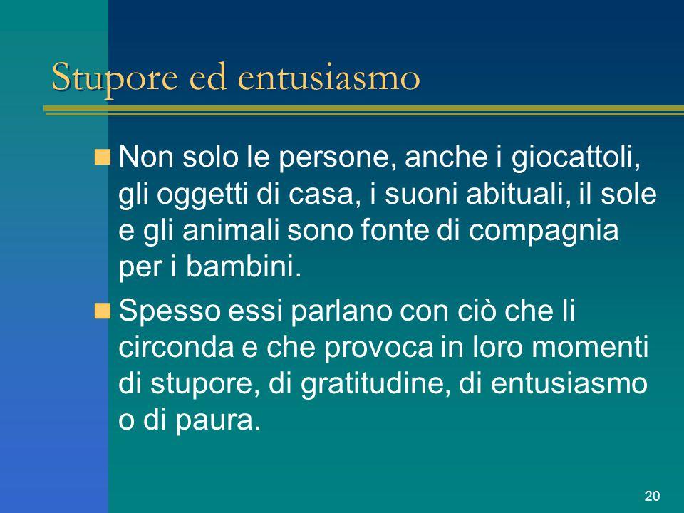 20 Stupore ed entusiasmo Non solo le persone, anche i giocattoli, gli oggetti di casa, i suoni abituali, il sole e gli animali sono fonte di compagnia