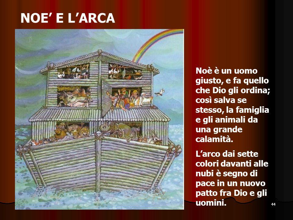 44 NOE' E L'ARCA Noè è un uomo giusto, e fa quello che Dio gli ordina; così salva se stesso, la famiglia e gli animali da una grande calamità. L'arco