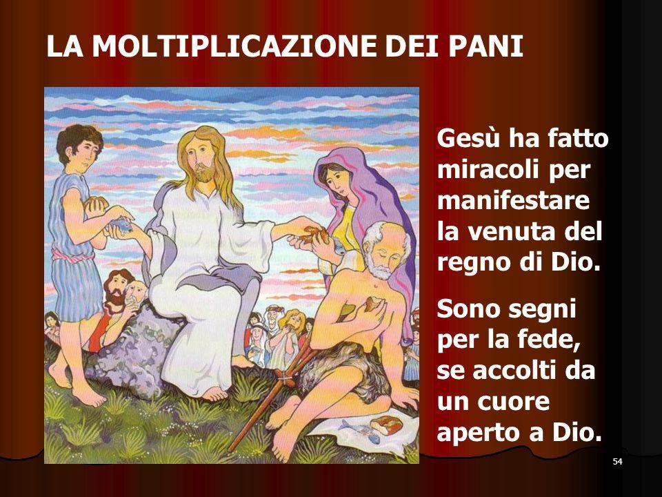 54 LA MOLTIPLICAZIONE DEI PANI Gesù ha fatto miracoli per manifestare la venuta del regno di Dio. Sono segni per la fede, se accolti da un cuore apert