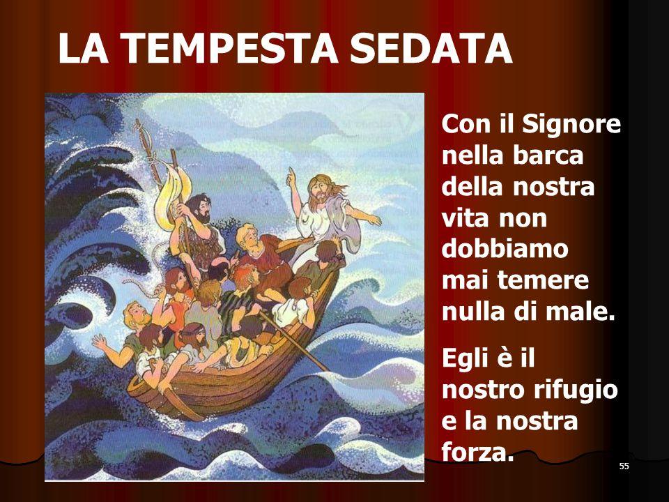 55 LA TEMPESTA SEDATA Con il Signore nella barca della nostra vita non dobbiamo mai temere nulla di male. Egli è il nostro rifugio e la nostra forza.