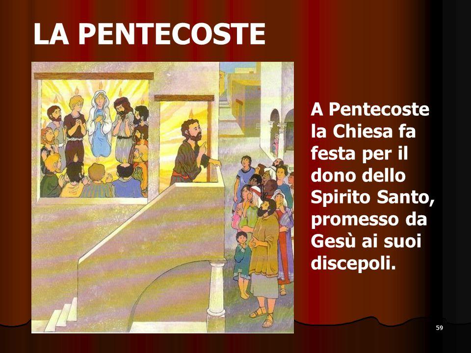 59 LA PENTECOSTE A Pentecoste la Chiesa fa festa per il dono dello Spirito Santo, promesso da Gesù ai suoi discepoli.