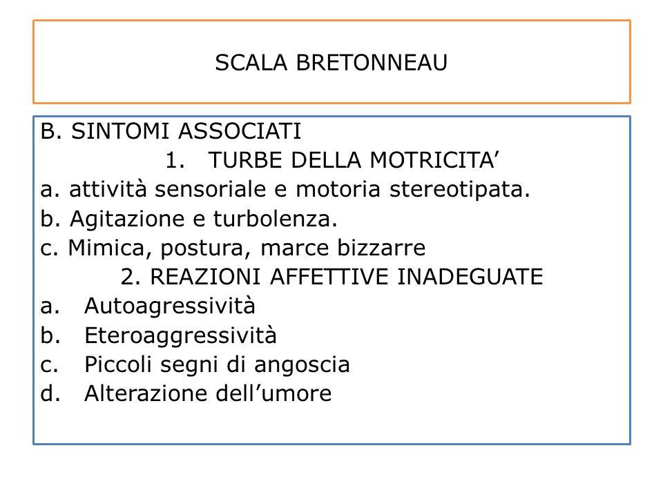 SCALA BRETONNEAU B. SINTOMI ASSOCIATI 1.TURBE DELLA MOTRICITA' a. attività sensoriale e motoria stereotipata. b. Agitazione e turbolenza. c. Mimica, p