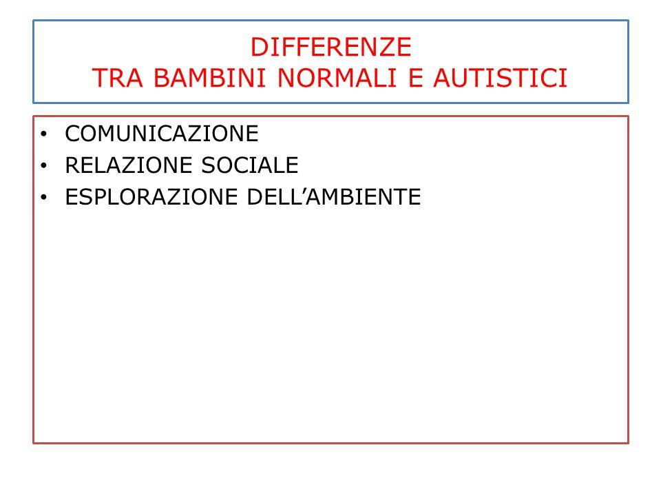 DIFFERENZE TRA BAMBINI NORMALI E AUTISTICI COMUNICAZIONE RELAZIONE SOCIALE ESPLORAZIONE DELL'AMBIENTE