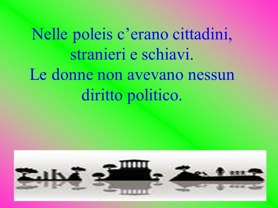 Nelle poleis c'erano cittadini, stranieri e schiavi. Le donne non avevano nessun diritto politico.