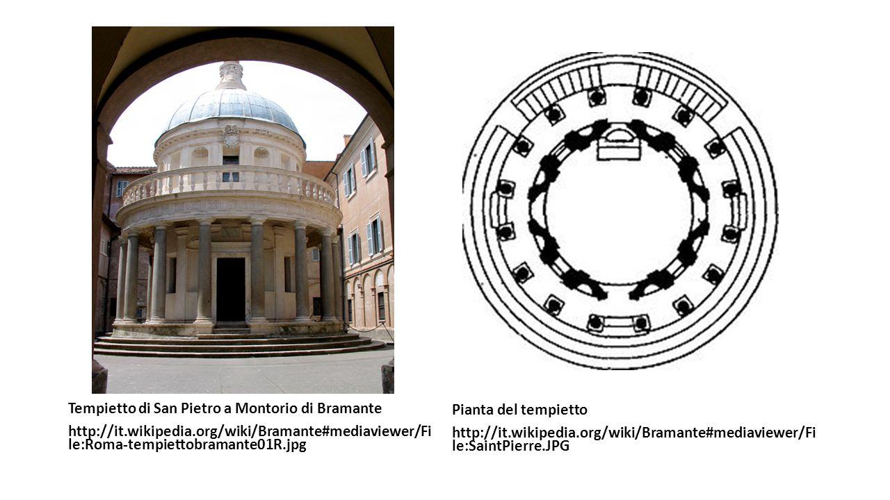 Tempietto di San Pietro a Montorio di Bramante http://it.wikipedia.org/wiki/Bramante#mediaviewer/Fi le:Roma-tempiettobramante01R.jpg Pianta del tempie