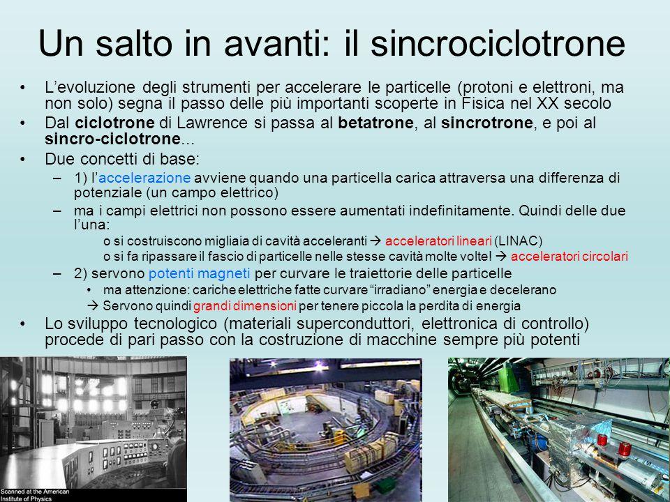 Un salto in avanti: il sincrociclotrone L'evoluzione degli strumenti per accelerare le particelle (protoni e elettroni, ma non solo) segna il passo de