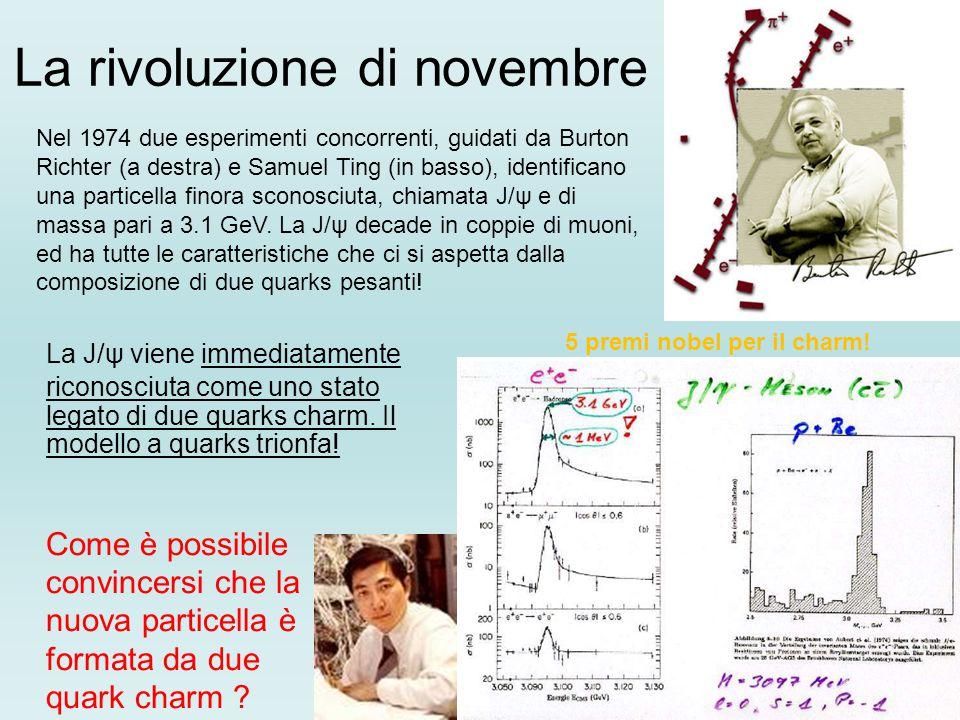 La rivoluzione di novembre La J/ψ viene immediatamente riconosciuta come uno stato legato di due quarks charm. Il modello a quarks trionfa! Come è pos