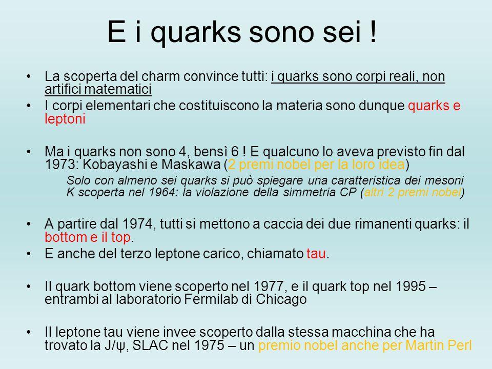 E i quarks sono sei ! La scoperta del charm convince tutti: i quarks sono corpi reali, non artifici matematici I corpi elementari che costituiscono la