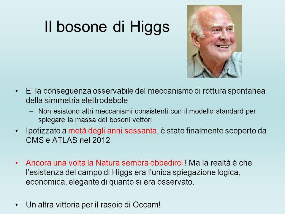 Il bosone di Higgs E' la conseguenza osservabile del meccanismo di rottura spontanea della simmetria elettrodebole –Non esistono altri meccanismi cons