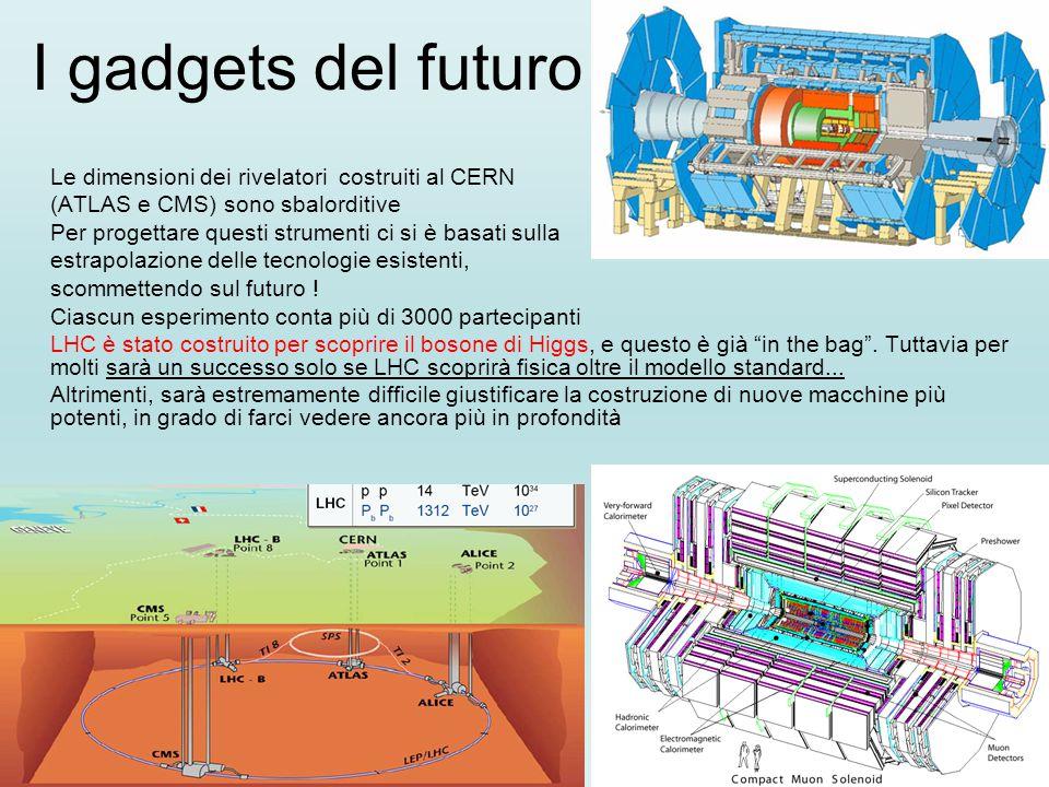I gadgets del futuro Le dimensioni dei rivelatori costruiti al CERN (ATLAS e CMS) sono sbalorditive Per progettare questi strumenti ci si è basati sulla estrapolazione delle tecnologie esistenti, scommettendo sul futuro .