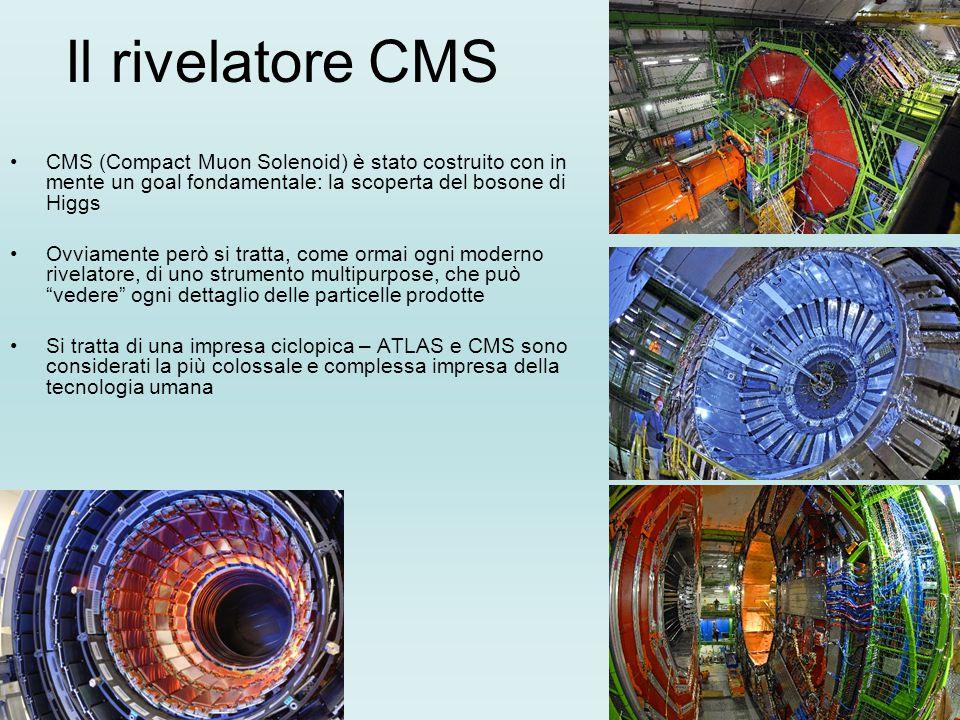Il rivelatore CMS CMS (Compact Muon Solenoid) è stato costruito con in mente un goal fondamentale: la scoperta del bosone di Higgs Ovviamente però si tratta, come ormai ogni moderno rivelatore, di uno strumento multipurpose, che può vedere ogni dettaglio delle particelle prodotte Si tratta di una impresa ciclopica – ATLAS e CMS sono considerati la più colossale e complessa impresa della tecnologia umana