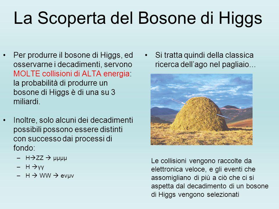 La Scoperta del Bosone di Higgs Per produrre il bosone di Higgs, ed osservarne i decadimenti, servono MOLTE collisioni di ALTA energia: la probabilità di produrre un bosone di Higgs è di una su 3 miliardi.