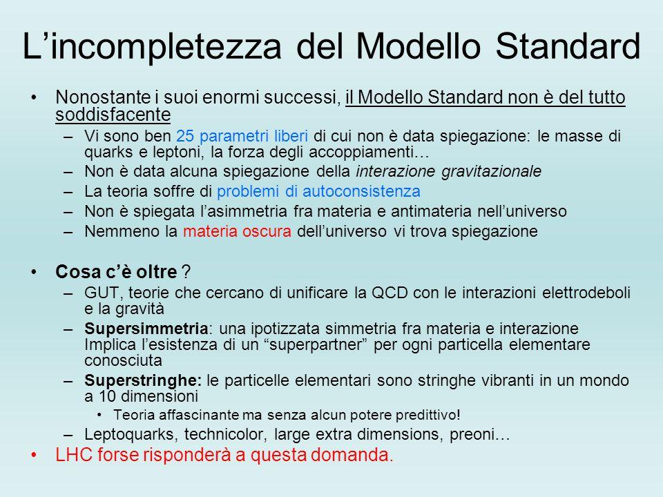 L'incompletezza del Modello Standard Nonostante i suoi enormi successi, il Modello Standard non è del tutto soddisfacente –Vi sono ben 25 parametri li