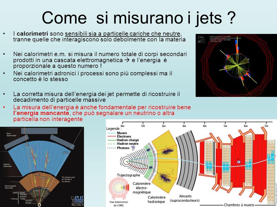 Come si misurano i jets ? I calorimetri sono sensibili sia a particelle cariche che neutre, tranne quelle che interagiscono solo debolmente con la mat