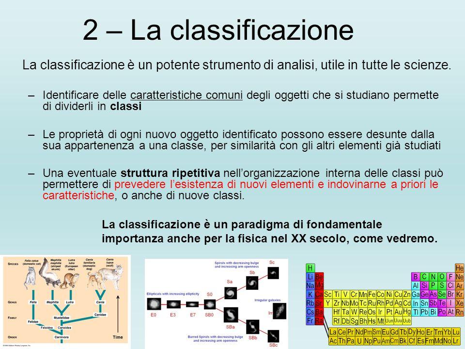 2 – La classificazione La classificazione è un potente strumento di analisi, utile in tutte le scienze. –Identificare delle caratteristiche comuni deg