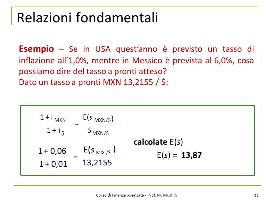 Relazioni fondamentali 11 Corso di Finanza Avanzata - Prof.