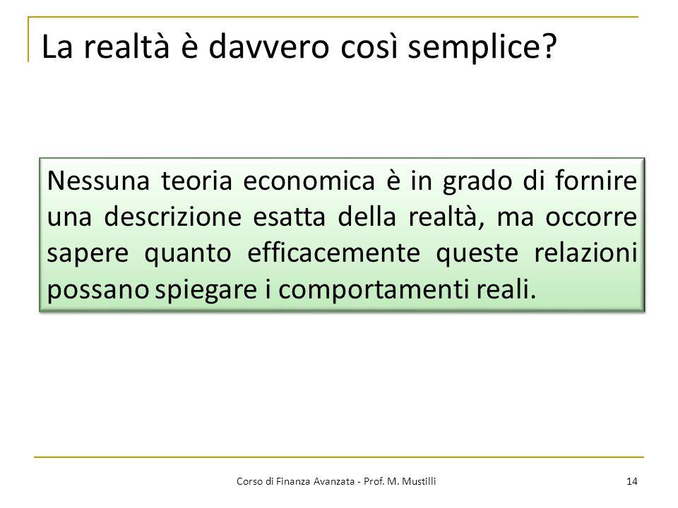 14 Corso di Finanza Avanzata - Prof.M. Mustilli La realtà è davvero così semplice.