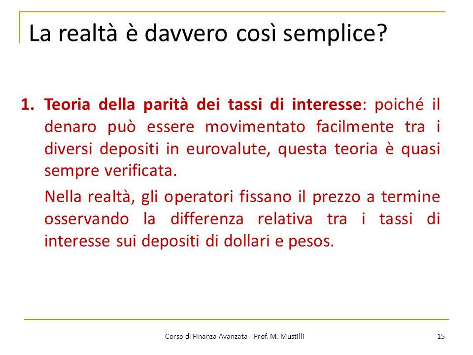 15 Corso di Finanza Avanzata - Prof.M. Mustilli La realtà è davvero così semplice.