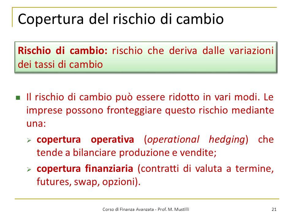 Copertura del rischio di cambio 21 Corso di Finanza Avanzata - Prof.