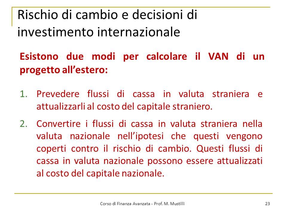 Rischio di cambio e decisioni di investimento internazionale 23 Corso di Finanza Avanzata - Prof.