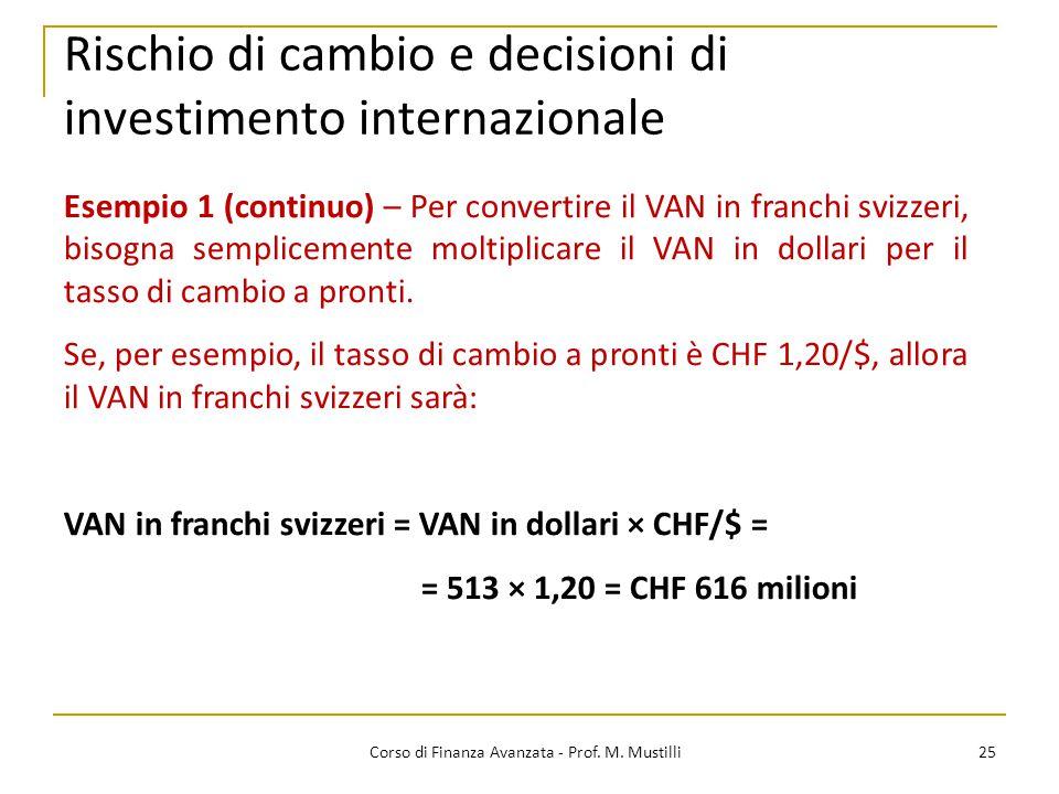 Rischio di cambio e decisioni di investimento internazionale 25 Corso di Finanza Avanzata - Prof.