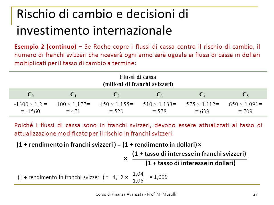 Rischio di cambio e decisioni di investimento internazionale 27 Corso di Finanza Avanzata - Prof.