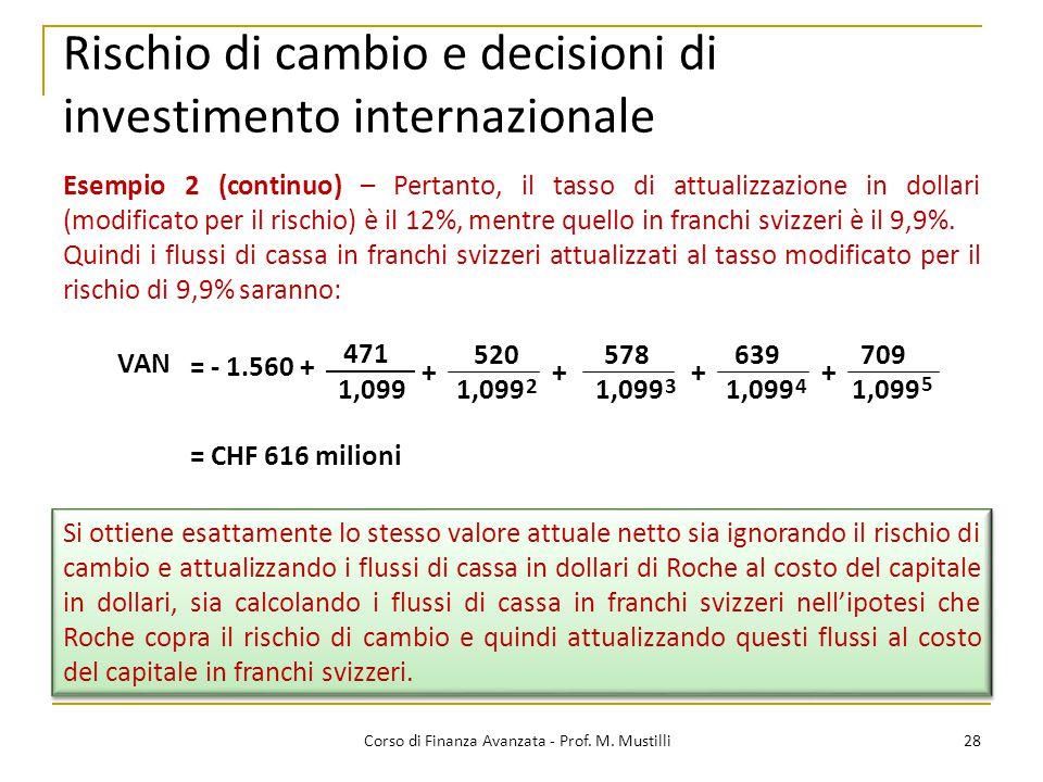 Rischio di cambio e decisioni di investimento internazionale 28 Corso di Finanza Avanzata - Prof.