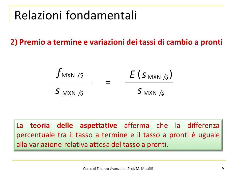 Relazioni fondamentali 9 Corso di Finanza Avanzata - Prof.