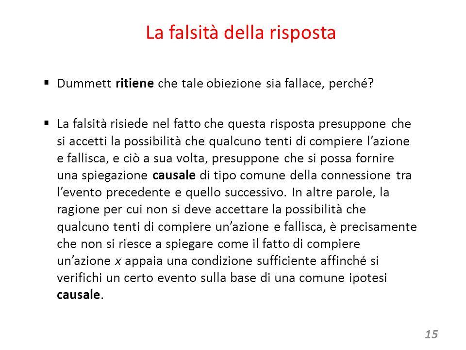 15 La falsità della risposta  Dummett ritiene che tale obiezione sia fallace, perché.