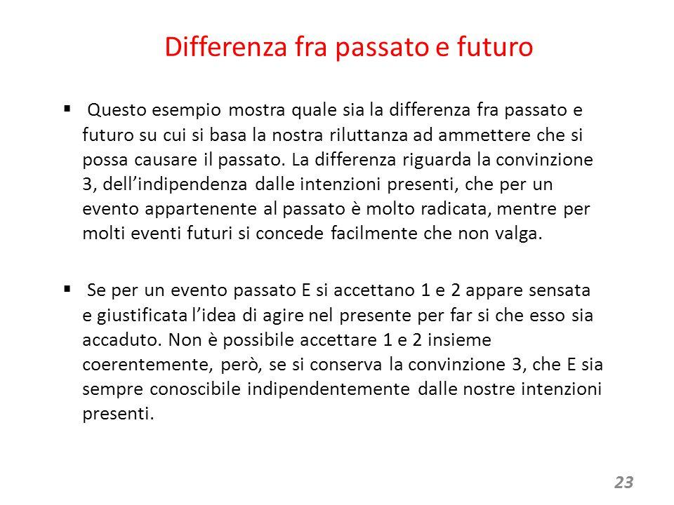 23 Differenza fra passato e futuro  Questo esempio mostra quale sia la differenza fra passato e futuro su cui si basa la nostra riluttanza ad ammettere che si possa causare il passato.