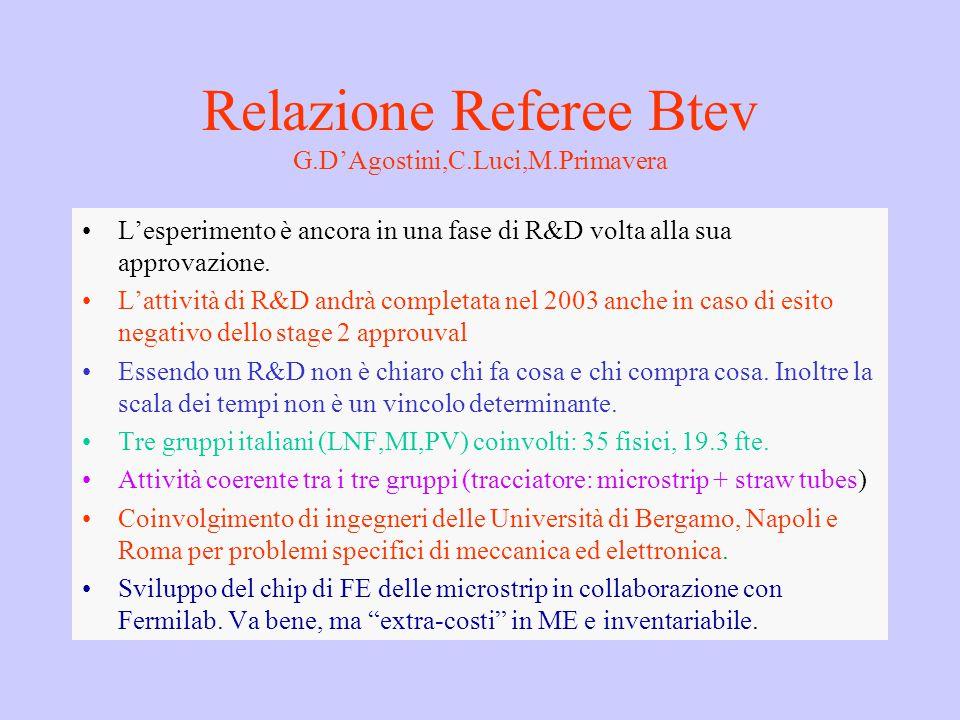 Relazione Referee Btev G.D'Agostini,C.Luci,M.Primavera L'esperimento è ancora in una fase di R&D volta alla sua approvazione. L'attività di R&D andrà