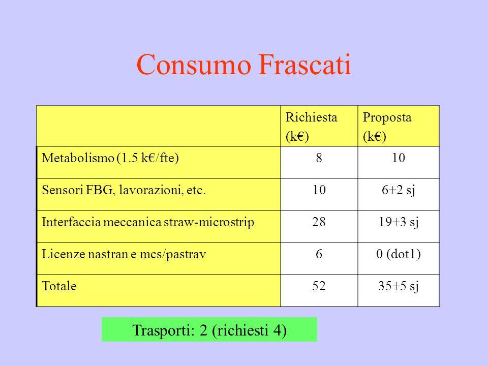 Consumo Frascati Richiesta (k€) Proposta (k€) Metabolismo (1.5 k€/fte)810 Sensori FBG, lavorazioni, etc.106+2 sj Interfaccia meccanica straw-microstrip2819+3 sj Licenze nastran e mcs/pastrav60 (dot1) Totale5235+5 sj Trasporti: 2 (richiesti 4)