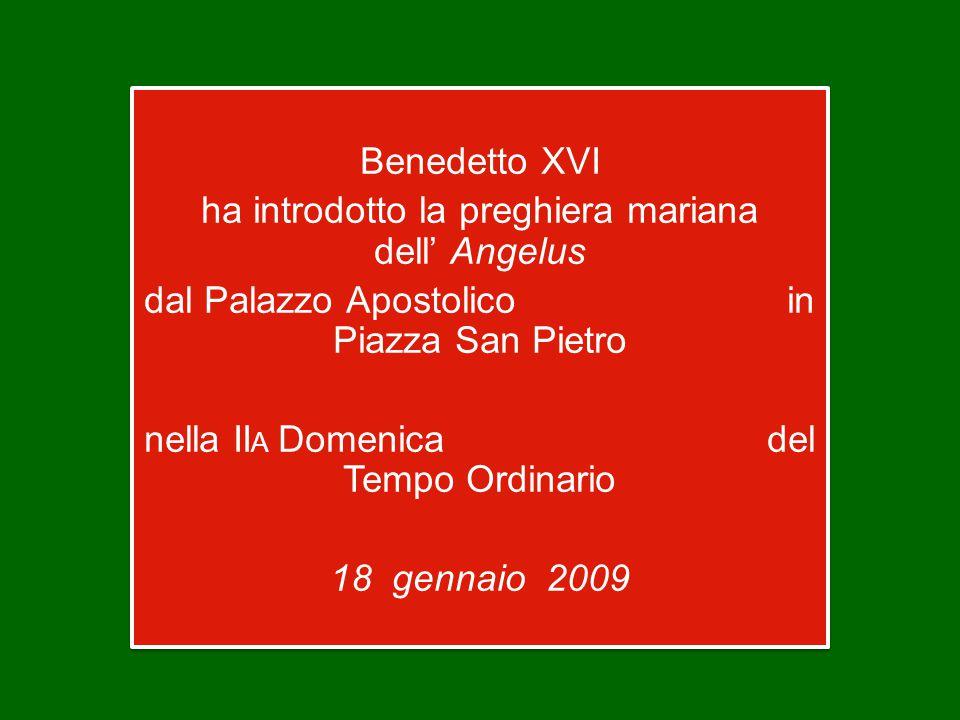 Benedetto XVI ha introdotto la preghiera mariana dell' Angelus dal Palazzo Apostolico in Piazza San Pietro nella II A Domenica del Tempo Ordinario 18 gennaio 2009 Benedetto XVI ha introdotto la preghiera mariana dell' Angelus dal Palazzo Apostolico in Piazza San Pietro nella II A Domenica del Tempo Ordinario 18 gennaio 2009
