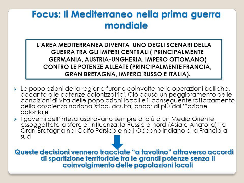 Focus: Il Mediterraneo nella prima guerra mondiale  Le popolazioni della regione furono coinvolte nelle operazioni belliche, accanto alle potenze col