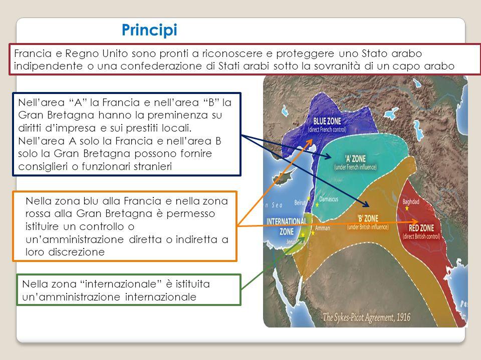 Principi Francia e Regno Unito sono pronti a riconoscere e proteggere uno Stato arabo indipendente o una confederazione di Stati arabi sotto la sovran