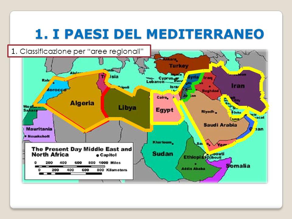 """1. I PAESI DEL MEDITERRANEO 1. Classificazione per """"aree regionali"""""""
