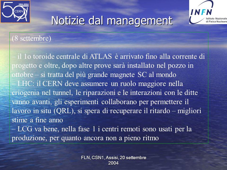 FLN, CSN1, Assisi, 20 settembre 2004 Notizie dal management (8 settembre) – il 1o toroide centrale di ATLAS è arrivato fino alla corrente di progetto