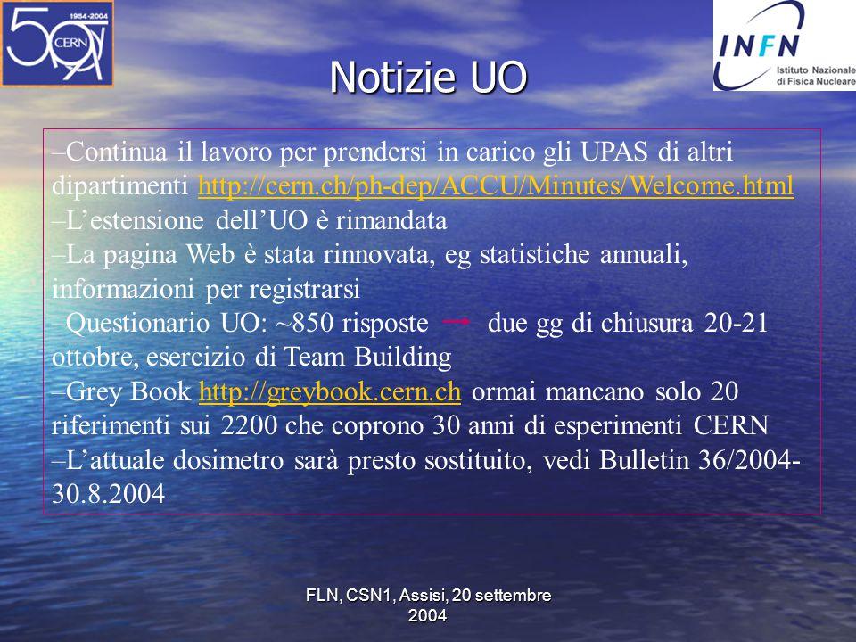 FLN, CSN1, Assisi, 20 settembre 2004 Notizie UO –Continua il lavoro per prendersi in carico gli UPAS di altri dipartimenti http://cern.ch/ph-dep/ACCU/Minutes/Welcome.htmlhttp://cern.ch/ph-dep/ACCU/Minutes/Welcome.html –L'estensione dell'UO è rimandata –La pagina Web è stata rinnovata, eg statistiche annuali, informazioni per registrarsi –Questionario UO: ~850 risposte due gg di chiusura 20-21 ottobre, esercizio di Team Building –Grey Book http://greybook.cern.ch ormai mancano solo 20 riferimenti sui 2200 che coprono 30 anni di esperimenti CERNhttp://greybook.cern.ch –L'attuale dosimetro sarà presto sostituito, vedi Bulletin 36/2004- 30.8.2004