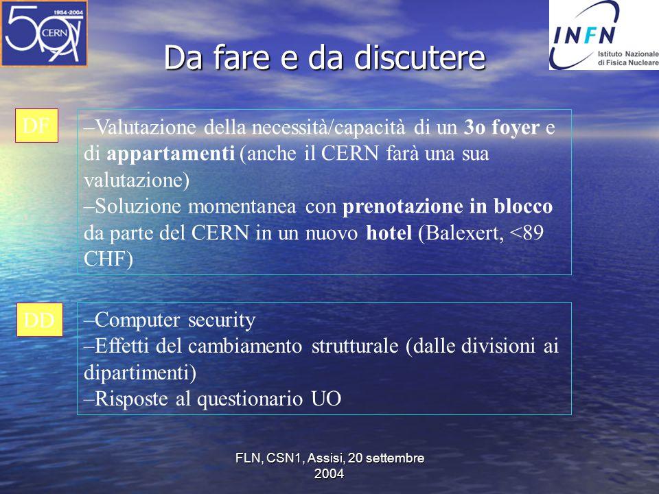 FLN, CSN1, Assisi, 20 settembre 2004 Da fare e da discutere –Valutazione della necessità/capacità di un 3o foyer e di appartamenti (anche il CERN farà