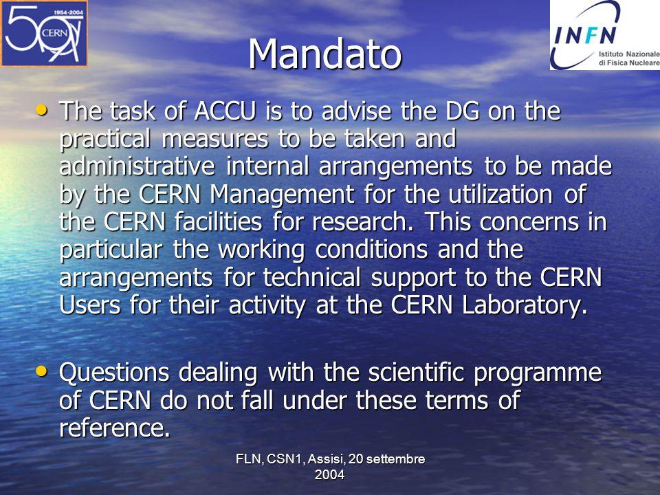 FLN, CSN1, Assisi, 20 settembre 2004 Notizie dal management (8 settembre) – il 1o toroide centrale di ATLAS è arrivato fino alla corrente di progetto e oltre, dopo altre prove sarà installato nel pozzo in ottobre – si tratta del più grande magnete SC al mondo – LHC: il CERN deve assumere un ruolo maggiore nella criogenia nel tunnel, le riparazioni e le interazioni con le ditte vanno avanti, gli esperimenti collaborano per permettere il lavoro in situ (QRL), si spera di recuperare il ritardo – migliori stime a fine anno – LCG va bene, nella fase 1 i centri remoti sono usati per la produzione, per quanto ancora non a pieno ritmo