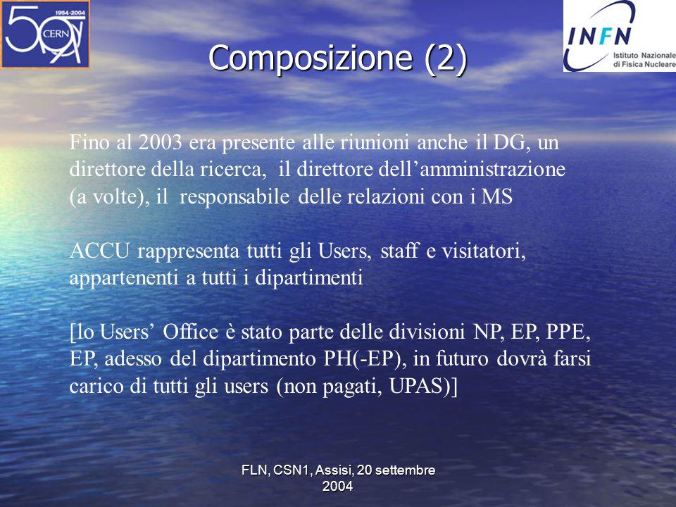 FLN, CSN1, Assisi, 20 settembre 2004 Composizione (2) Fino al 2003 era presente alle riunioni anche il DG, un direttore della ricerca, il direttore de