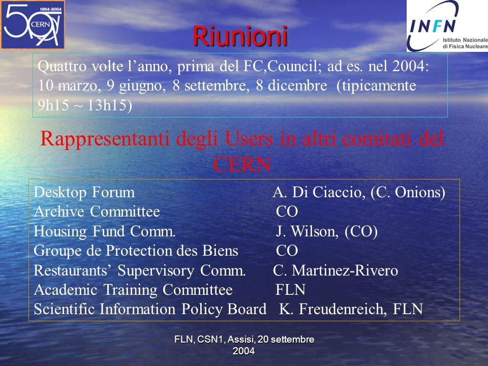 FLN, CSN1, Assisi, 20 settembre 2004 Riunioni Quattro volte l'anno, prima del FC,Council; ad es. nel 2004: 10 marzo, 9 giugno, 8 settembre, 8 dicembre